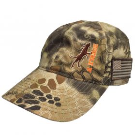 Double U Treed Dog Kryptek Camo Hat with American Flag Patch