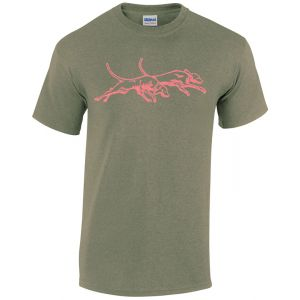 Ladies Double U Dogs Sparkle T-Shirt. Heather Military Green with Pink Dogs