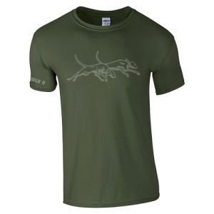 Gray on Olive Double U Dogs Soft Feel T-Shirt
