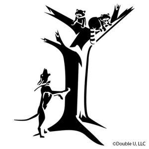 Raccoons Treed coonhound vinyl Decal