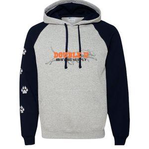 Double U Gray with Black Sleeves Hooded Sweatshirt